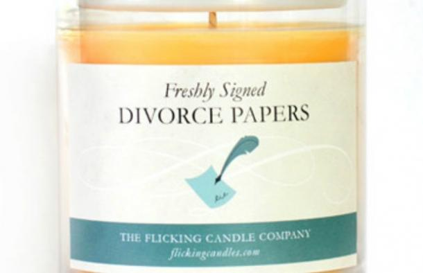Best Divorce Gifts For Women: Scent of freshly signed divorce papers candle