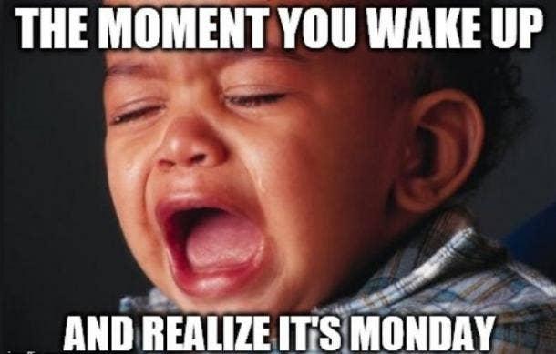 monday meme, crying baby