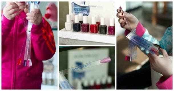 husband choosing nail color