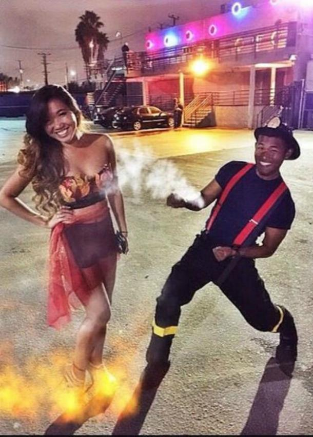 Fireman and fire couples costume