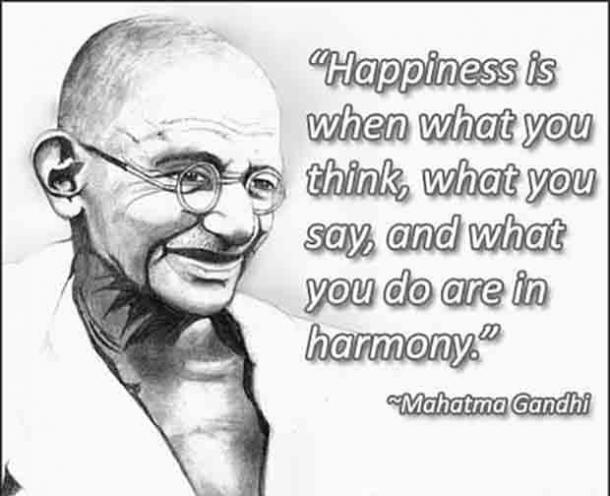 gandhi quotes, happiness and harmony