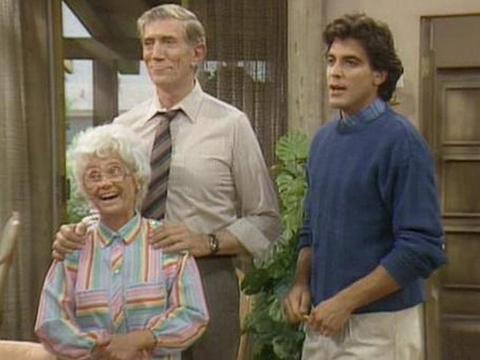 "Joe Campanella, Estelle Getty and George Clooney on ""Golden Girls"""