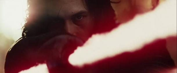 7. Kylo Ren's face is still messed up from his duel with Rey