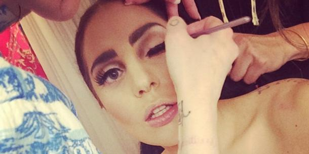 Lady Gaga getting her makeup done - Instagram