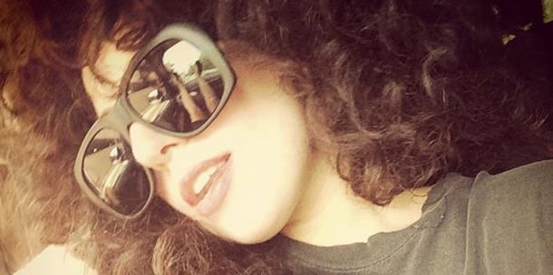 Lady Gaga in a curly wig and sunglasses - Instagram