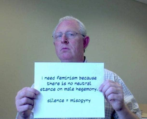"""""""male hegemony"""" sign"""