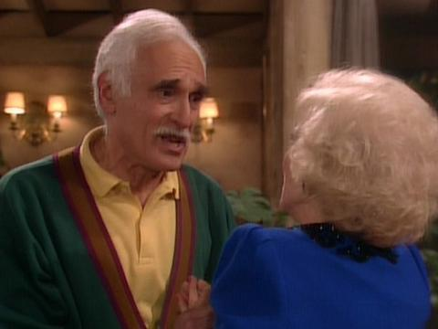 """<a href=""""http://www.sitcomsonline.com/photopost/data/662/hg5.JPG""""/>Harold Gould as Miles Webber, with Betty White as Rose Nylund, on """"The Golden Girls</a>"""