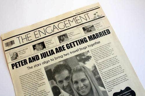 """<a href=""""http://www.bridalguide.com/blogs/from-dianes-desk/newsfavor-wedding-newspapers"""">bridalguide.com</a>"""