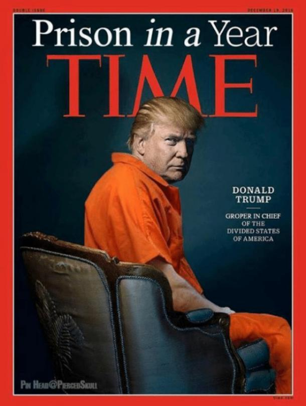 Image result for caricature trump in prison