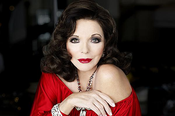 Joan Collins red dress and lipstick