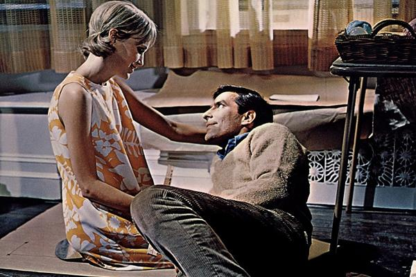 john cassavettes and mia farrow and guy woodhouse and rosemary woodhouse in rosemary's baby directed by roman polanski