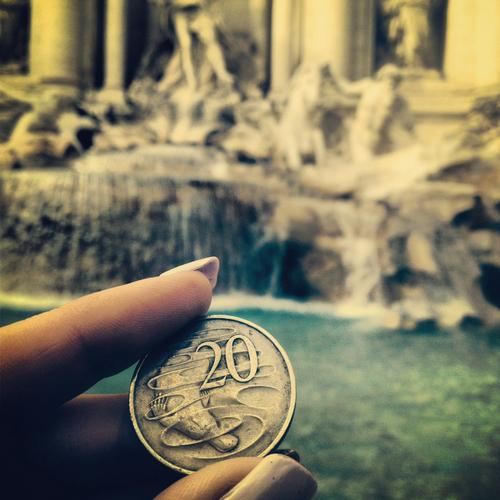 coin in fountain