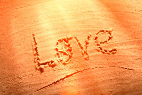 Love written in the sand.