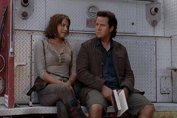 Lauren Cohan Maggie the Walking Dead AMC Eugene Porter Josh McDermitt firetruck