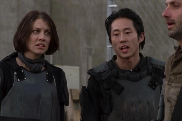 Steven Yeun and Lauren Cohan as Glenn and Maggie from The Walking Dead AMC