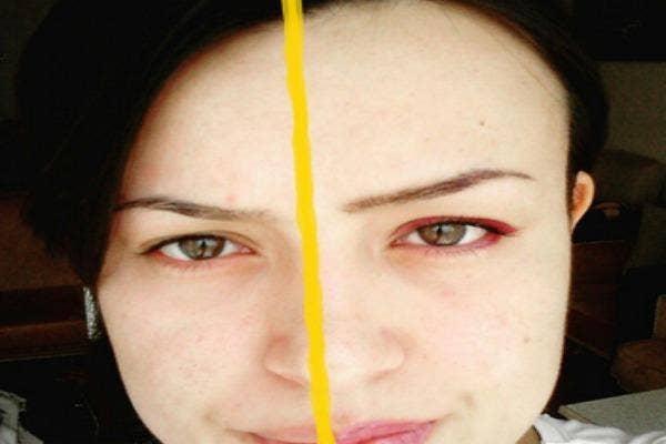Half and half makeup selfie