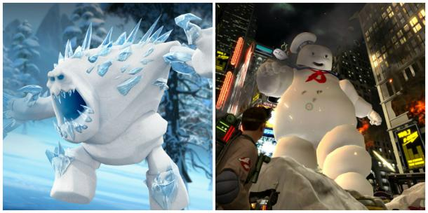 Marshmallow of Disney's 'Frozen' and the Stay Puft Marshmallow Man from 'Ghostbusters'