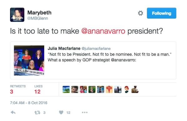 Conservative blogger marybeth glenn twitterstorm against trump hero