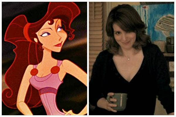 """Megara in Disney's """"Hercules"""" and Tina Fey as Liz Lemon in """"30 Rock"""""""
