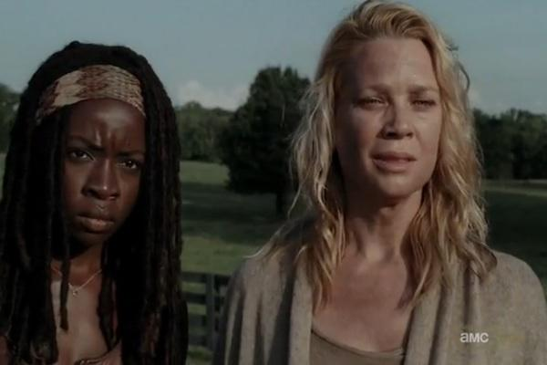 Danai Gurira as Michonne and Lori Holden as Andrea from The Walking Dead AMC