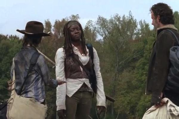 Danai Gurira as Michonne, Chandler Riggs as Carl Grimes and Andrew Lincoln as Rick Grimes from The Walking Dead AMC