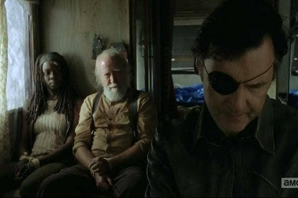 Danai Gurira as Michonne, Scott Wilson as Hershel Greene and David Morrissey as The Governor (Phillip Blake and Brian Blake) from The Walking Dead AMC in Woodbury