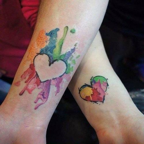 heart mother daughter tattoos