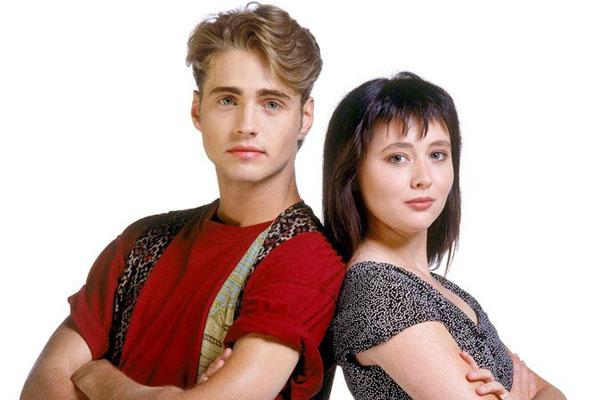 Jason Priestley and Shannen Doherty as Brandon and Brenda on Beverly Hills 90210