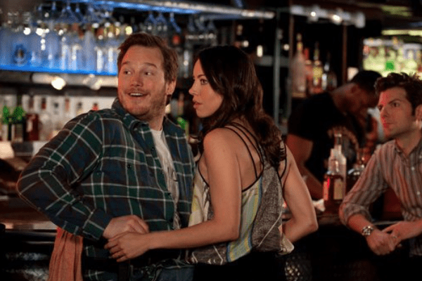 Chris Pratt and Aubrey Plaza and April and Andy on Parks and Recreation