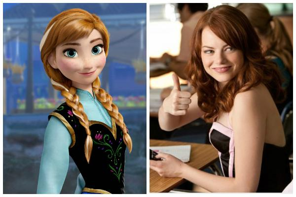 """Princess Anna from Disney's """"Frozen"""" and Emma Stone in """"Easy A"""""""