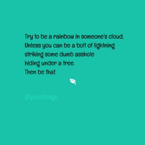 Try to be a rainbow in someone's cloud. Unless you can be a bolt of lightening some dumb asshole hiding under a tree. Then be that.