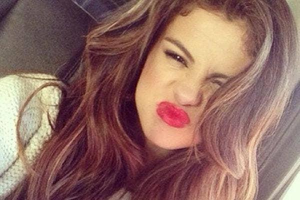 selena gomez instagram red lipstick
