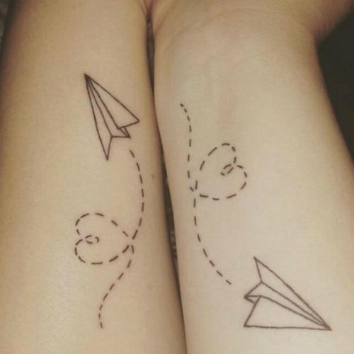 paper airplane love mother daughter tattoos