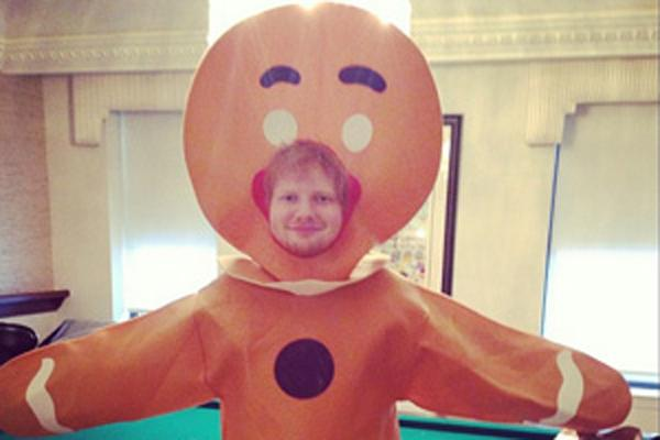 Ed Sheeran as a Gingerbread man for Halloween