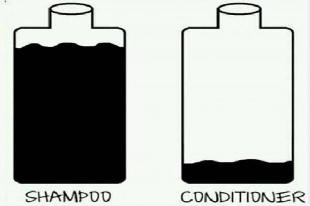 The real mysteries of life of less conditioner than shampoo