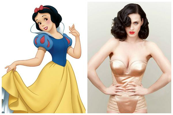 Disney's Snow White and Katy Perry in beige shiny satin lingerie with black hair, pale skin and red lipstick