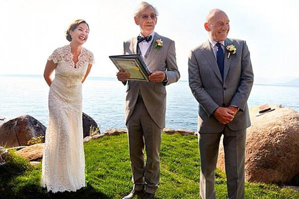 Sir Ian McKellen officiating the wedding of best friend Sir Patrick Stewart and Sunny Ozwell
