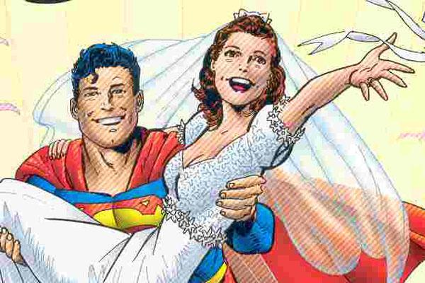 Super Dysfunctional Superhero Couples: Superman and Lois Lane in a wedding illustration