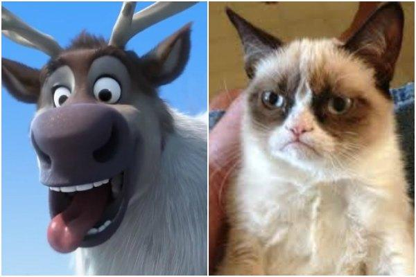 Sven the Reindeer of Disney's 'Frozen' and Grumpy Cat
