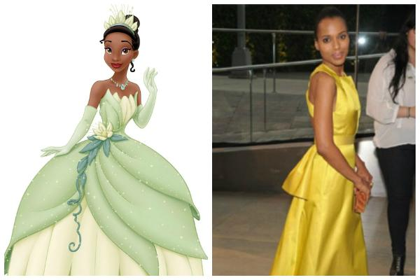 """Princess Tiana of Disney's """"The Princess and the Frog""""; Kerry Washington in a gold gown at an awards show"""