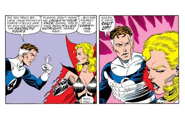 "Super Dysfunctional Superhero Couples: Reed Richards and Sue Storm Of ""Fantastic Four"" in an image from the comic books"