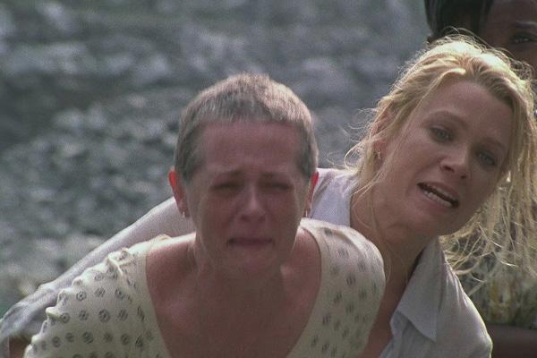 Melissa McBride as Carol Pelletier on The Walking Dead AMC with Laurie Holden as Andrea