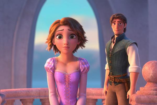Rapunzel with brown hair and Flynn the bandit in Disney's Tangled, Disney princess, Disney love, Disney Rapunzel, Disney, Disney cartoons, Disney princesses, love lessons, love