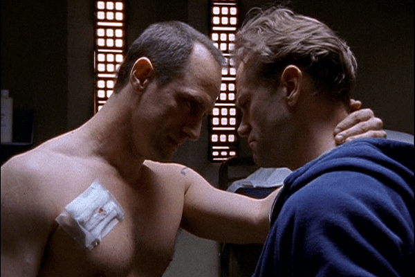 Christopher Meloni and Chris Keller and Lee Tergesen as Tobias Beecher are a gay homosexual same-sex couple in HBO's prison drama OZ