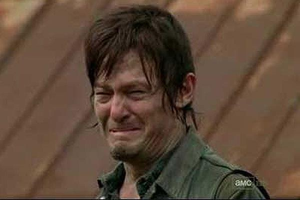 Norman Reedus Daryl Dixon crying in The Walking Dead when Merle Dixon dies and becomes a walker AMC