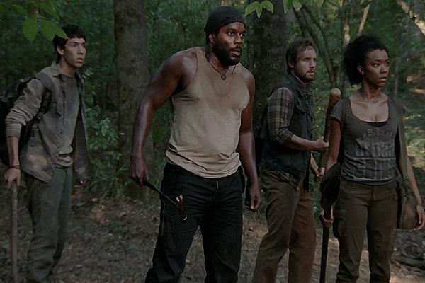 Chad L. Coleman as Tyreese on AMC 'The Walking Dead' with friends in the forest