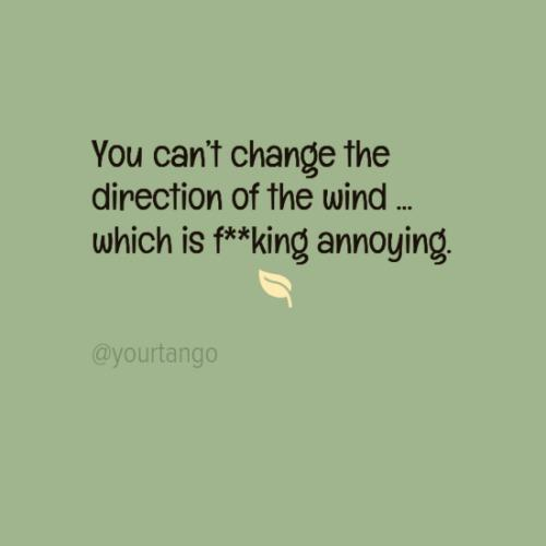 You can't change the direction of the wind... which is annoying.