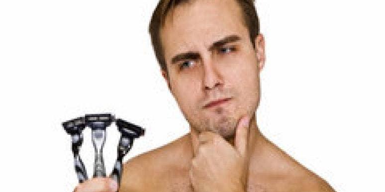 man facial hair shave razor