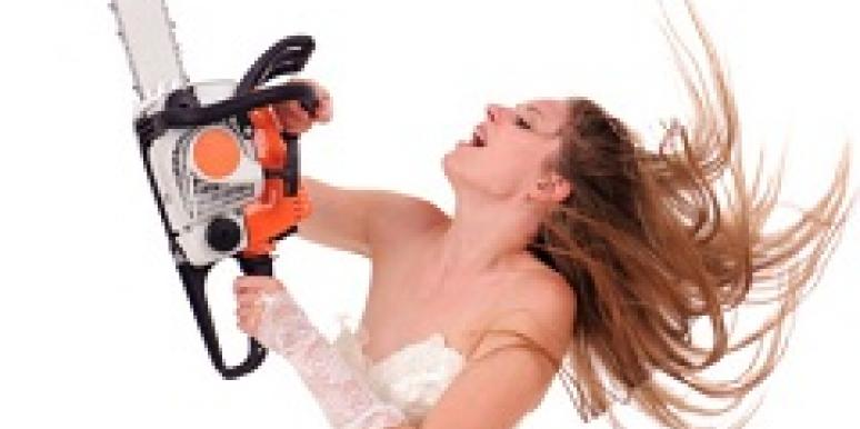 Bride with chainsaw