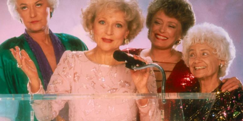 """""""The Golden Girls"""" cast, left to right, Bea Arthur (as Dorothy Zbornak), Betty White (as Rose Nylund), Rue McClanahan (as Blanche Devereaux) and Estelle Getty (as Sophia Petrillo)"""
